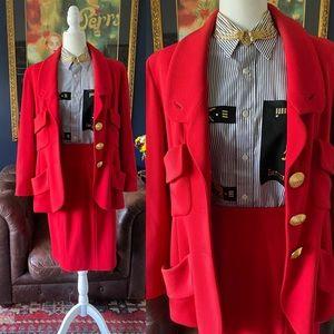 🧡HOST P❤️ Chanel VTG skirt suit vintage red